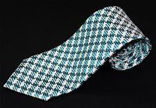 $260 New Tom Ford Wide 100% Silk Green Teal Black White Plaid Check Neck Tie