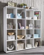 Wilmes: Raumteiler mit 16 Fächer - Bücherregal Standregal Wohnzimmerregal - Weiß