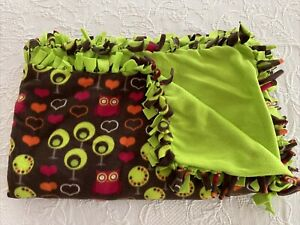 Hand Tied Fleece Blanket Approx 56X96 w/out Ties Owls Hearts Lime Green Colorful