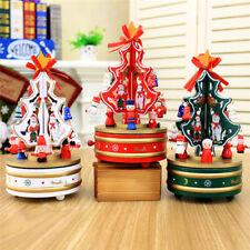 Christmas Tree Shape Rotating Wooden Clockwork Music Box Desktop Party Toys Gift