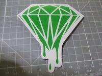 GREEN GLOSSY MELTING DIAMOND Sticker Decal Bumper Bomb Skateboard/Laptop  NEW