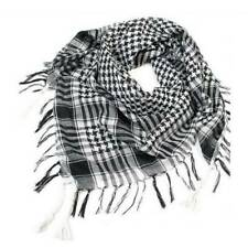 Womens Men Plaids Checks Scarves Shawl Tassels Scarf Winter Wrap Black White