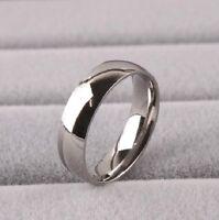 Men 6mm Mirror Polish Titanium Comfort Fit Plain Rings Wedding Band RT003