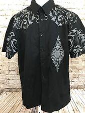 Royal Prestige Mens Shirt Sz XL Silver Embroidered Black Short Sleeve