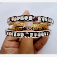 Natural Diamond Polki & Ruby Gold & 925 Sterling Silver 2 Pieces Bangle Bracelet
