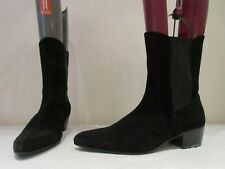 MENS RETRO OF LONDON BLACK SUEDE PULL ON BOOTS UK 8 (3379)
