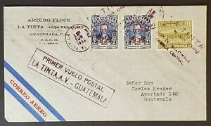 1935 La Tinta Guatemala First Flight Arturo Fleck Commercial Air Mail Cover