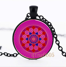 Pink Diamond Mandala Glass Dome black Chain Pendant Necklace wholesale