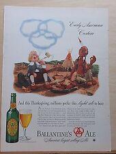 1940 magazine ad for Ballantine's Ale - pilgrim & native American smoke pipe