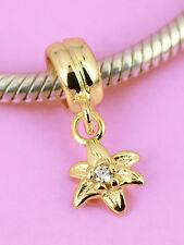 SOLID 9CT 9K GOLD CZ Christmas Flower Dangle Bead / Pendant Fit Charm Bracelet