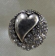 Silver Heart on the side with Crystals 12mm Noosa Style Snap Button Chunk
