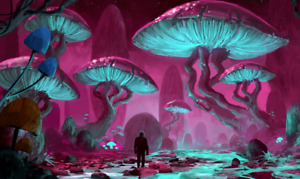 Fantasy Psychedelic World Colourful Wall Art Large Poster / Canvas Pictures