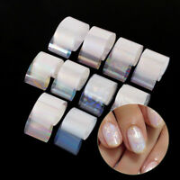 10Pcs Holographic Nail Foil Transparent Nail Art Starry Foils Transfer Stickers