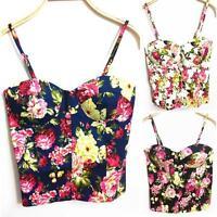 Women Zipper Strappy Camisole Bustier Bra Floral Bralet Tank Blouse Crop Tops