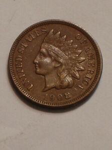 1908 S Indian Head Cent very Choice AU original Semi Key 1st San Francisco Cent
