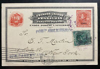 1901 Caracas Venezuela Postal Stationery Postcard Cover To New York USA