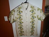 Tommy Bahama Button Up Hawaiian Floral Shirt Beige Tan 100% Silk Mens Large L