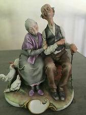 GIUSEPPE CAPPE FIGURINE FROM ITALY No.99010 -HAPPY OLD COUPLE -CAPODIMONTE 1959