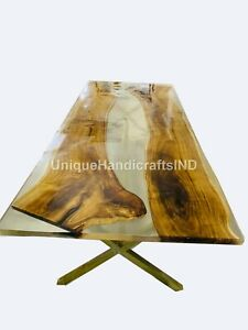 River White Resin Table, Dining Table Top, Center Table, Hallway & office Table