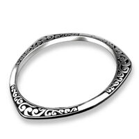 Women Girl 925 Sterling Silver Plated Carving Cuff Bracelet Bangle Charm Jewelry