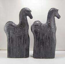 2 Contemporáneo Negro Oscuro Madera Carnaval Animal Caballos Escultura Estatuas