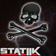 BLACK SKULL CROSS BONE SKELETON LOGO EMBLEM BADGE HOOD TRUNK TAIL GATE  S6