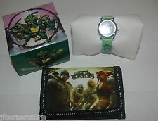 FABULOUS CHILDRENS MUTANT NINJA TURTLE WATCH &  WALLET SET NEW
