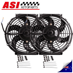 """2PCS 10inch 12V 10"""" Fan mount Kit Pull Push Radiator Electirc Thermo Curved 80W"""
