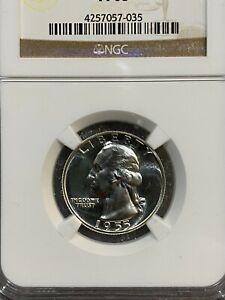 1955 Proof Strike Silver Washington Quarter NGC PR 68
