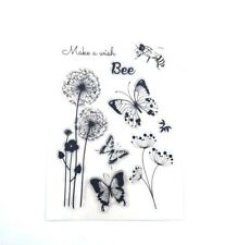 Clear Stamp Flowers Butterflies Bee make a wish  For Card Making