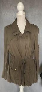 Womens New Look Size 12 Khaki Green Jacket With Pockets & Drawstring Belt