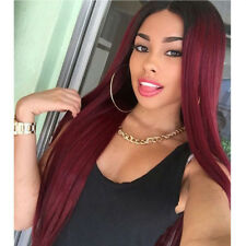 New Synthetic Straight Long Hair Wigs For Women  Ombre Red  Middle Wig Not Curly