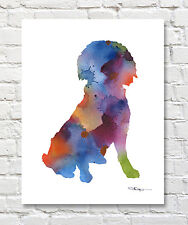 Boykin Spaniel Abstract Contemporary Watercolor Art 11 x 14 Print by Djr