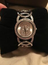 """Ladies """"Bebe Time"""" Silver tone Watch With Stones"""