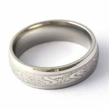 Vogue Gold Filled Chinese Dragon Unisex Band Promise Love Band Ring Size 8-13