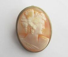 Antique Victorian Lady Carved Shell Cameo 800 Sterling Silver Brooch / Pendant