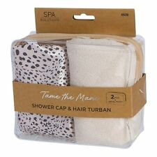 SPA SOLUTIONS SHOWER CAP & TURBAN - LEOPARD & CREAM ~ One Size ~ New in Box