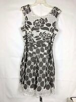 Bethany women's Dress size 14 Sleeveless floral Pleated Brown White Belted 76