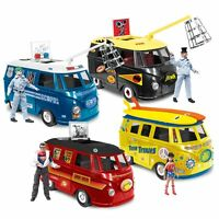 Set of all 4 Official DC Comics Bus Playsets With Exclusive Figures by FTC