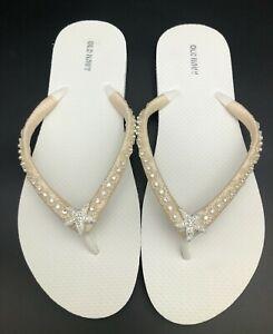 White Bridal Flip Flops, Ivory Bridal Flip Flops, Starfish Flip Flops W Size 11.