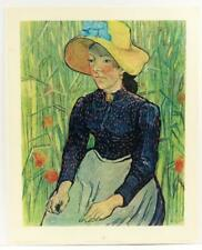 Vintage VINCENT VAN GOGH Girl with straw Hat Painting impressionism LITHO #409T