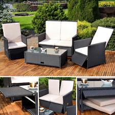 Gartenmöbel Set bestehend aus 2er Sessel Sofa / Tisch schwarz + Auflagen Lounge