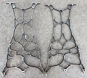 GEOMETRIC DESIGN  INDUSTRIAL AGE CAST IRON TREADLE LEGS ANTIQUE REPURPOSE