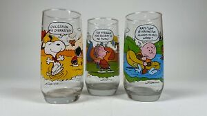 Vintage McDonalds Peanuts Charlie Brown Camp Snoopy Collection Glasses Lot of 3