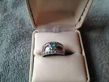 NATURAL PARAIBA 1.25CT. BLUE/GREEN APATITE/BLUE TOPAZ RING SIZE 7 IN SS925