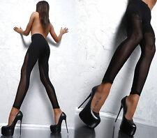 NEU FASHION SEXY FIT C42 SPITZE LACE STRASS KITTY PANTS HOSE BLACK LEGGINGS S