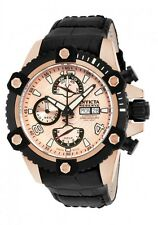 New Men's Invicta 12502 Reserve Swiss Automatic Chrono Rose Dial Leather Watch