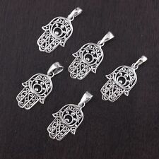 Wholesale Lot 5Pcs Solid 925 Sterling Silver Hamsa Hand Pendant