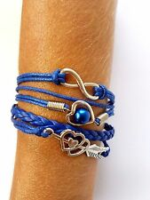 Armband * Herz * Pfeil * unendlich * 8 * Modeschmuck * blau