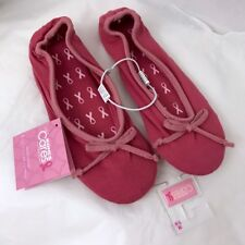 LC Lauren Conrad Ballet Slippers Womens Bow Ribbon Cancer Cure Pink S M L NWT
